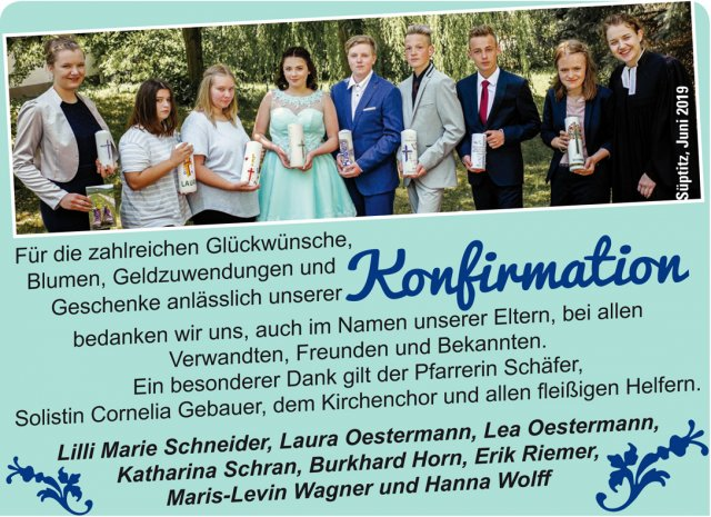 Konfirmation in Süptitz/2019